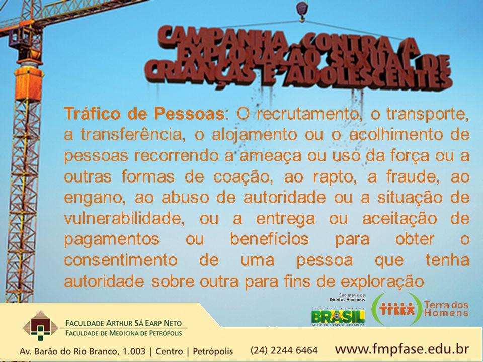 Tráfico de Pessoas: O recrutamento, o transporte, a transferência, o alojamento ou o acolhimento de pessoas recorrendo a ameaça ou uso da força ou a o