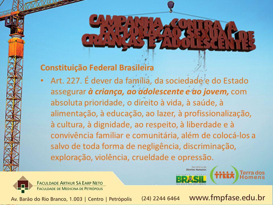 Constituição Federal Brasileira Art. 227. É dever da família, da sociedade e do Estado assegurar à criança, ao adolescente e ao jovem, com absoluta pr