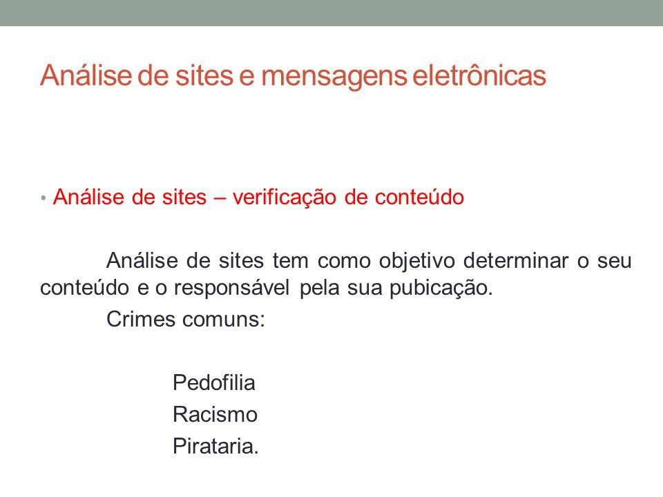Análise de sites e mensagens eletrônicas Análise de sites – verificação de conteúdo Análise de sites tem como objetivo determinar o seu conteúdo e o responsável pela sua pubicação.