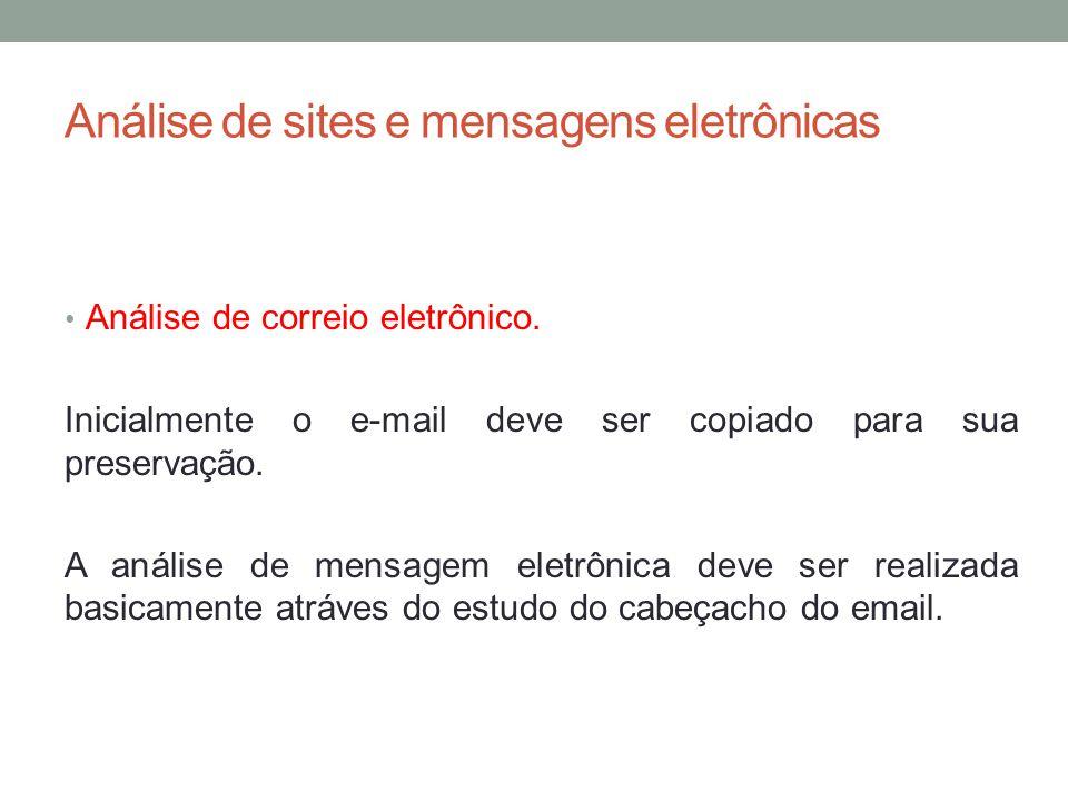 Análise de sites e mensagens eletrônicas Análise de correio eletrônico.