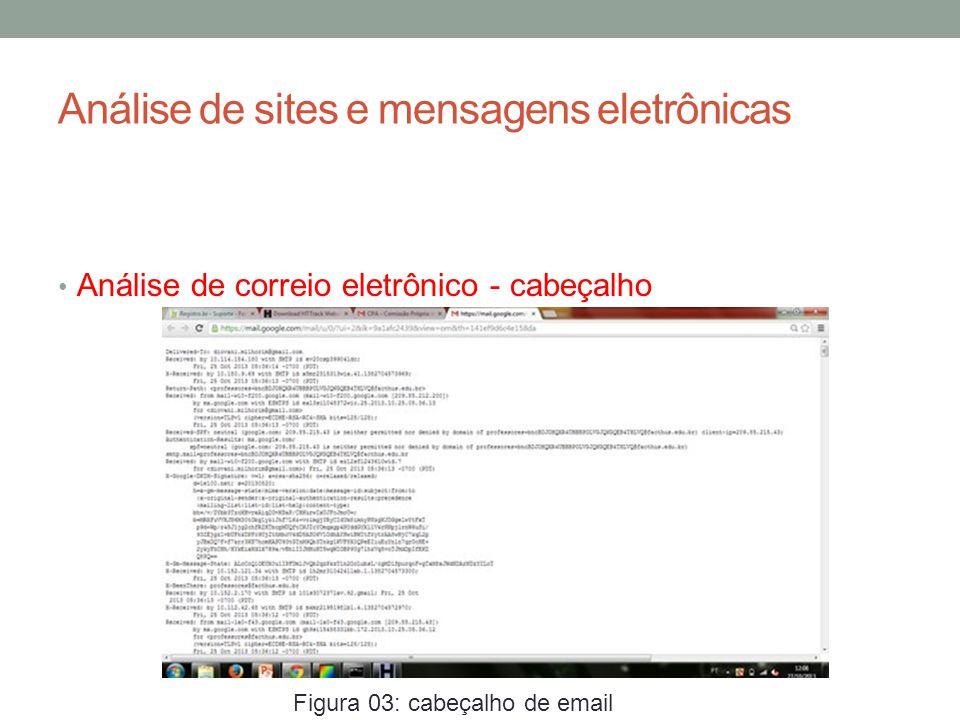 Análise de sites e mensagens eletrônicas Análise de correio eletrônico - cabeçalho Figura 03: cabeçalho de email