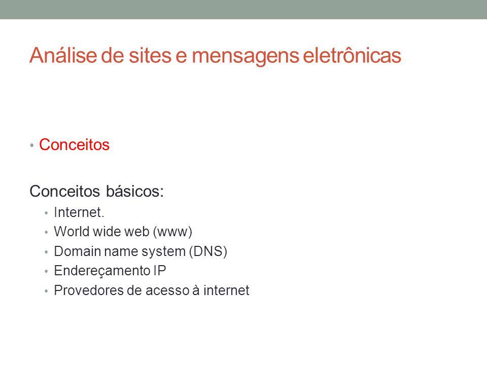 Análise de sites e mensagens eletrônicas Conceitos Conceitos básicos: Internet.