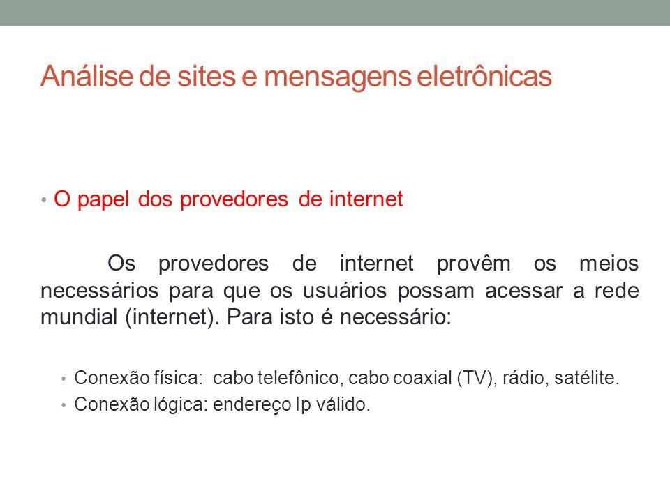 Análise de sites e mensagens eletrônicas O papel dos provedores de internet Os provedores de internet provêm os meios necessários para que os usuários possam acessar a rede mundial (internet).