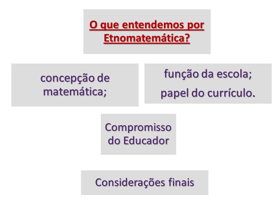 O que entendemos por Etnomatemática.concepção de matemática; função da escola; papel do currículo.