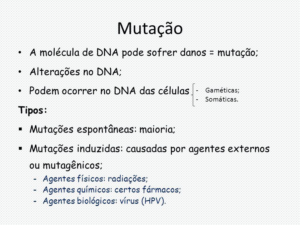 Mutação A molécula de DNA pode sofrer danos = mutação; Alterações no DNA; Podem ocorrer no DNA das células Tipos:  Mutações espontâneas: maioria;  Mutações induzidas: causadas por agentes externos ou mutagênicos; -Agentes físicos: radiações; -Agentes químicos: certos fármacos; -Agentes biológicos: vírus (HPV).