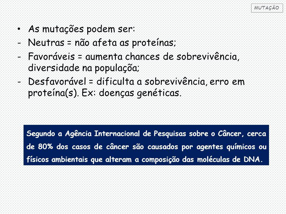 As mutações podem ser: -Neutras = não afeta as proteínas; -Favoráveis = aumenta chances de sobrevivência, diversidade na populaçõa; -Desfavorável = dificulta a sobrevivência, erro em proteína(s).