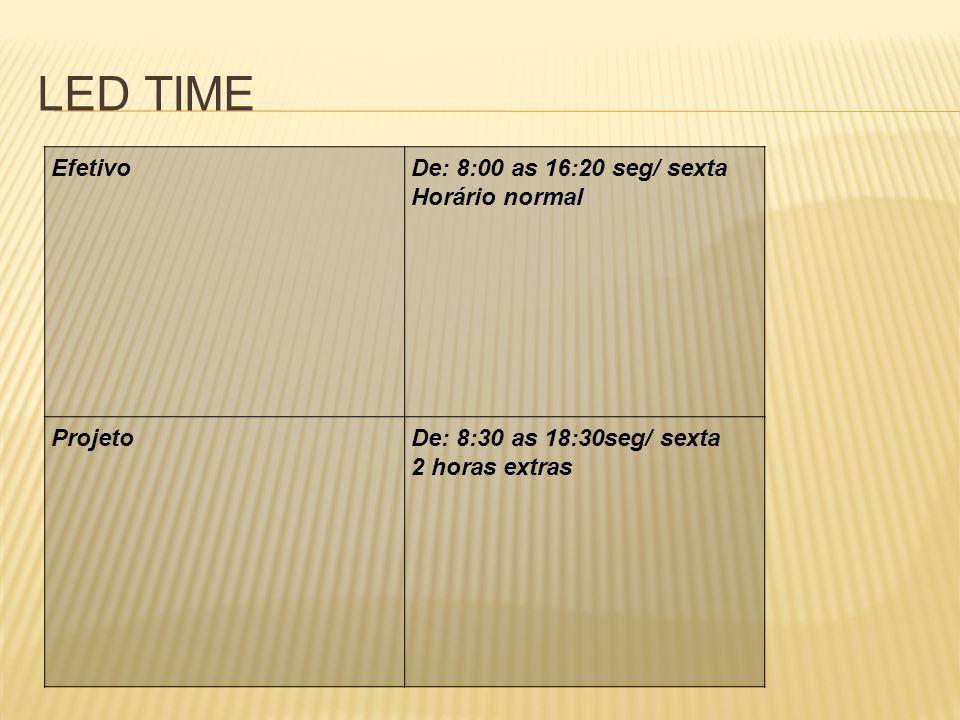 LED TIME EfetivoDe: 8:00 as 16:20 seg/ sexta Horário normal ProjetoDe: 8:30 as 18:30seg/ sexta 2 horas extras