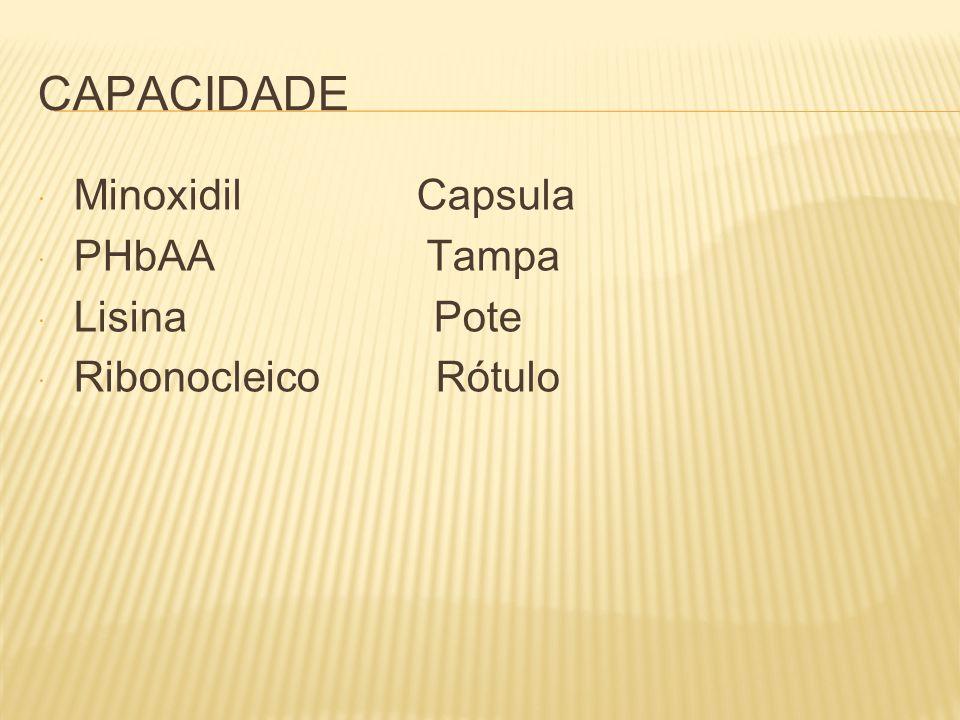CAPACIDADE  Minoxidil Capsula  PHbAA Tampa  Lisina Pote  Ribonocleico Rótulo