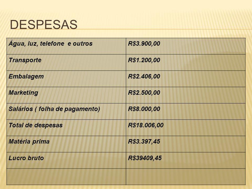 DESPESAS Água, luz, telefone e outrosR$3.900,00 TransporteR$1.200,00 EmbalagemR$2.406,00 MarketingR$2.500,00 Salários ( folha de pagamento)R$8.000,00