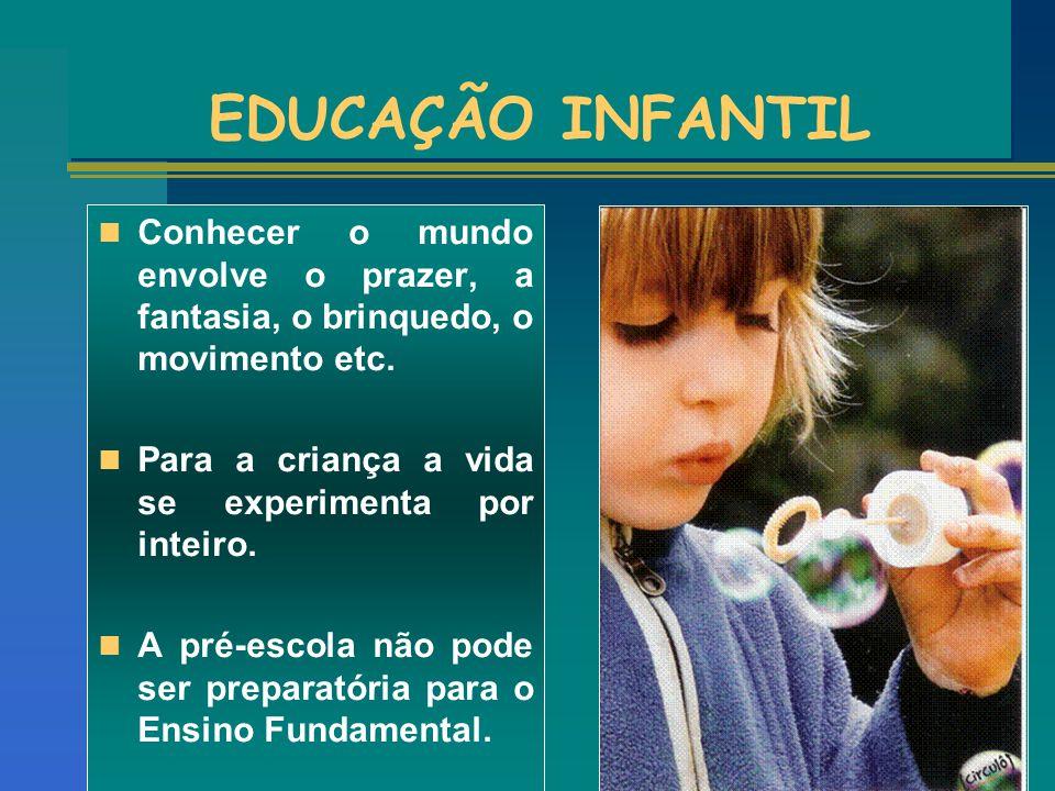 EDUCAÇÃO INFANTIL Conhecer o mundo envolve o prazer, a fantasia, o brinquedo, o movimento etc. Para a criança a vida se experimenta por inteiro. A pré