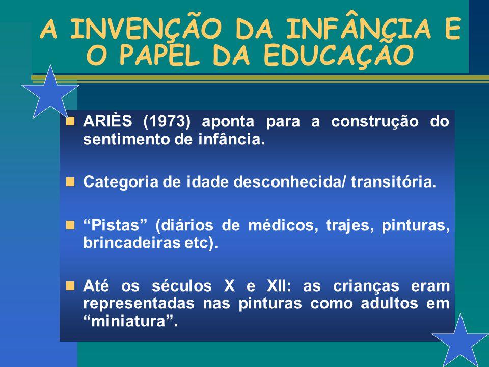 A INVENÇÃO DA INFÂNCIA E O PAPEL DA EDUCAÇÃO ARIÈS (1973) aponta para a construção do sentimento de infância. Categoria de idade desconhecida/ transit