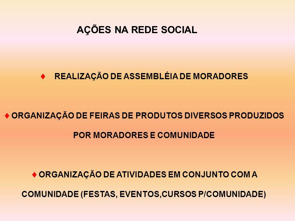  REALIZAÇÃO DE ASSEMBLÉIA DE MORADORES  ORGANIZAÇÃO DE FEIRAS DE PRODUTOS DIVERSOS PRODUZIDOS POR MORADORES E COMUNIDADE  ORGANIZAÇÃO DE ATIVIDADES EM CONJUNTO COM A COMUNIDADE (FESTAS, EVENTOS,CURSOS P/COMUNIDADE) AÇÕES NA REDE SOCIAL