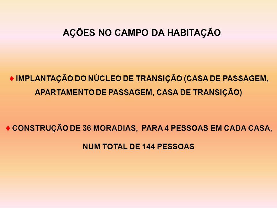  IMPLANTAÇÃO DO NÚCLEO DE TRANSIÇÃO (CASA DE PASSAGEM, APARTAMENTO DE PASSAGEM, CASA DE TRANSIÇÃO)  CONSTRUÇÃO DE 36 MORADIAS, PARA 4 PESSOAS EM CADA CASA, NUM TOTAL DE 144 PESSOAS AÇÕES NO CAMPO DA HABITAÇÃO