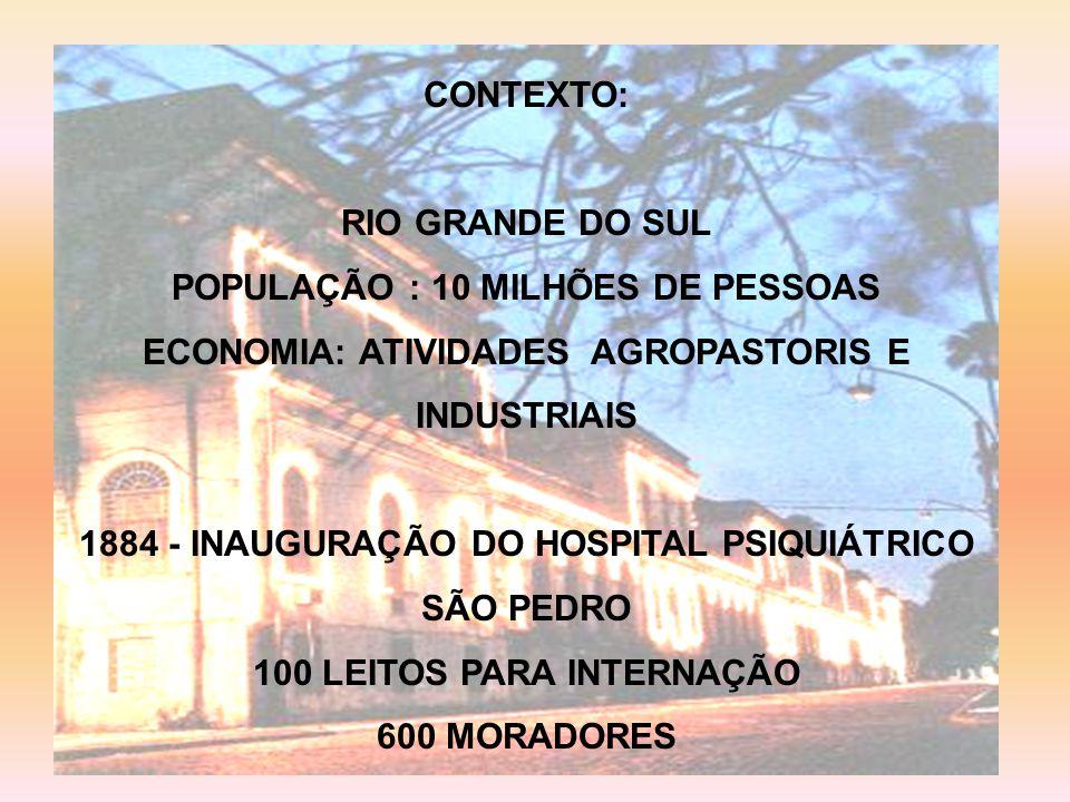 CONTEXTO: RIO GRANDE DO SUL POPULAÇÃO : 10 MILHÕES DE PESSOAS ECONOMIA: ATIVIDADES AGROPASTORIS E INDUSTRIAIS 1884 - INAUGURAÇÃO DO HOSPITAL PSIQUIÁTRICO SÃO PEDRO 100 LEITOS PARA INTERNAÇÃO 600 MORADORES