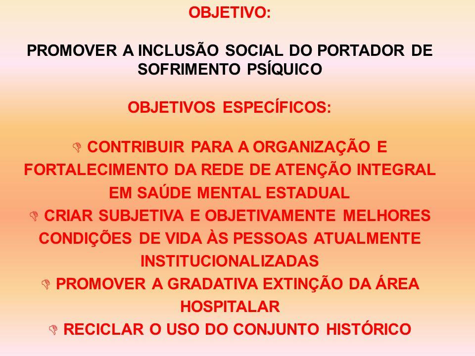 OBJETIVO: PROMOVER A INCLUSÃO SOCIAL DO PORTADOR DE SOFRIMENTO PSÍQUICO OBJETIVOS ESPECÍFICOS: D CONTRIBUIR PARA A ORGANIZAÇÃO E FORTALECIMENTO DA REDE DE ATENÇÃO INTEGRAL EM SAÚDE MENTAL ESTADUAL D CRIAR SUBJETIVA E OBJETIVAMENTE MELHORES CONDIÇÕES DE VIDA ÀS PESSOAS ATUALMENTE INSTITUCIONALIZADAS D PROMOVER A GRADATIVA EXTINÇÃO DA ÁREA HOSPITALAR D RECICLAR O USO DO CONJUNTO HISTÓRICO