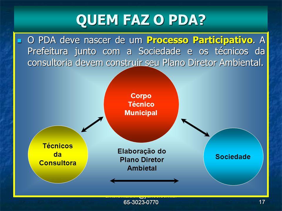 ambientaladv@yahoo.com.br 65-3023-077017 O PDA deve nascer de um Processo Participativo. A Prefeitura junto com a Sociedade e os técnicos da consultor