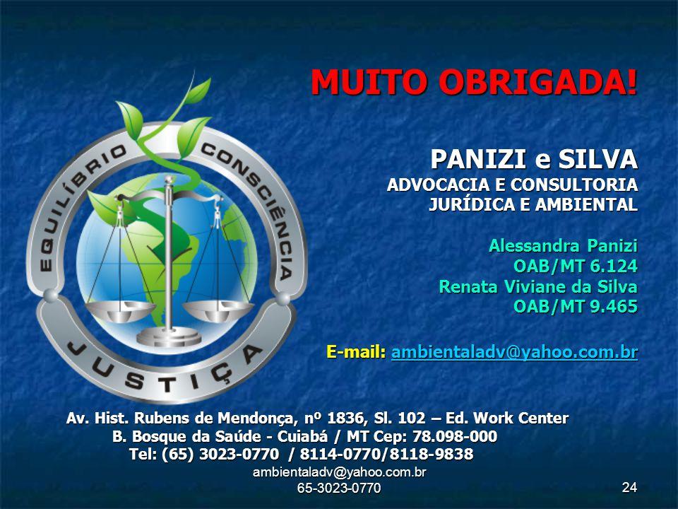 ambientaladv@yahoo.com.br 65-3023-077024 MUITO OBRIGADA! PANIZI e SILVA ADVOCACIA E CONSULTORIA JURÍDICA E AMBIENTAL Alessandra Panizi OAB/MT 6.124 Re