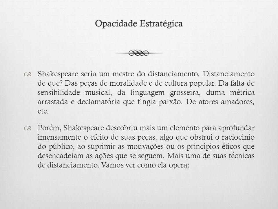 Opacidade EstratégicaOpacidade Estratégica  Shakespeare seria um mestre do distanciamento.