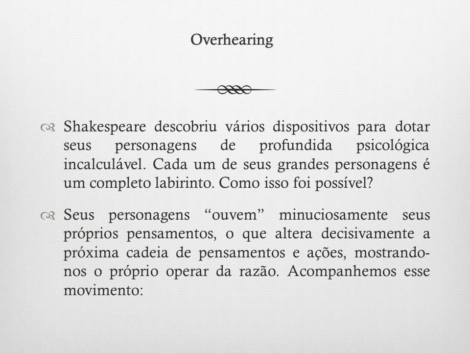 Overhearing  Shakespeare descobriu vários dispositivos para dotar seus personagens de profundida psicológica incalculável.