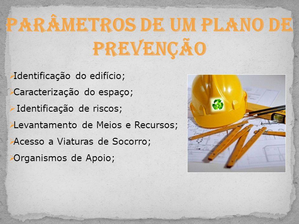 Parâmetros de um Plano de Prevenção  Identificação do edifício;  Caracterização do espaço;  Identificação de riscos;  Levantamento de Meios e Recu