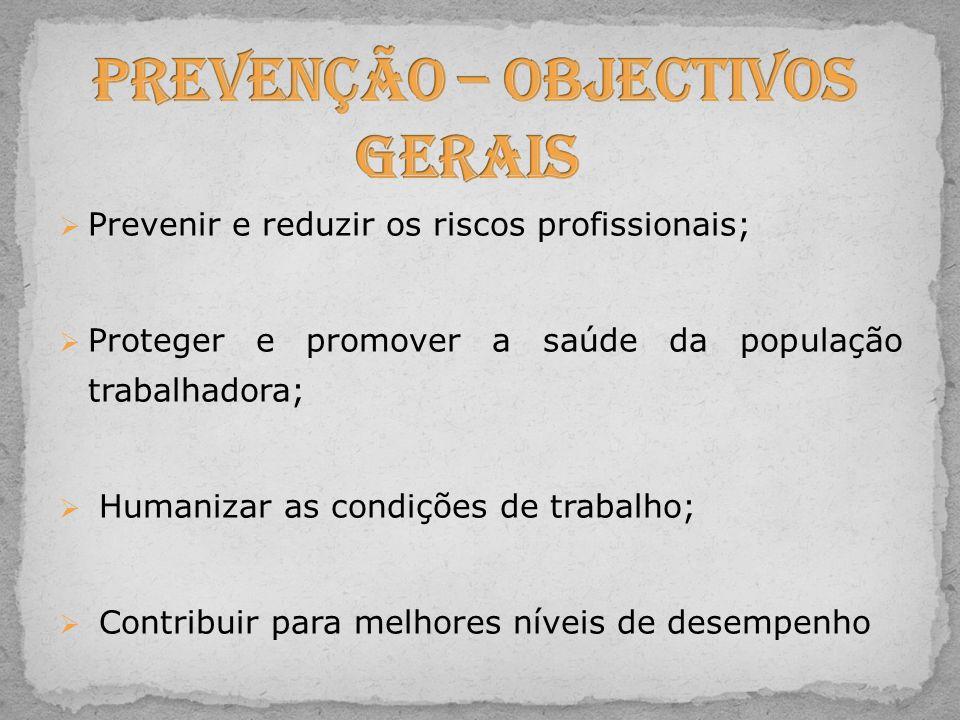  Prevenir e reduzir os riscos profissionais;  Proteger e promover a saúde da população trabalhadora;  Humanizar as condições de trabalho;  Contrib