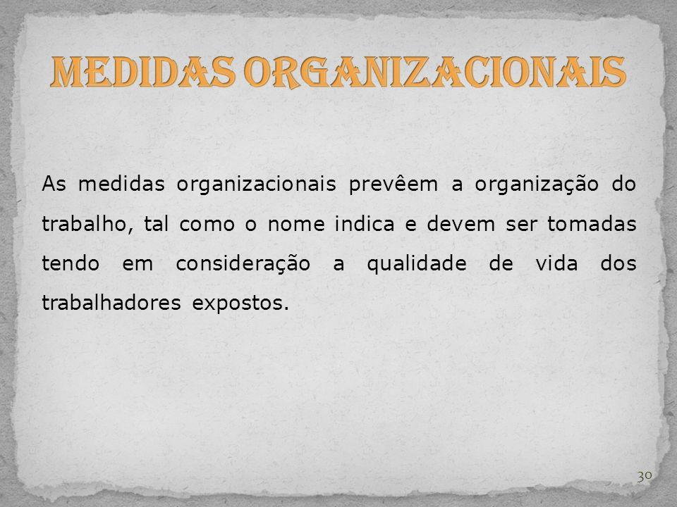 As medidas organizacionais prevêem a organização do trabalho, tal como o nome indica e devem ser tomadas tendo em consideração a qualidade de vida dos