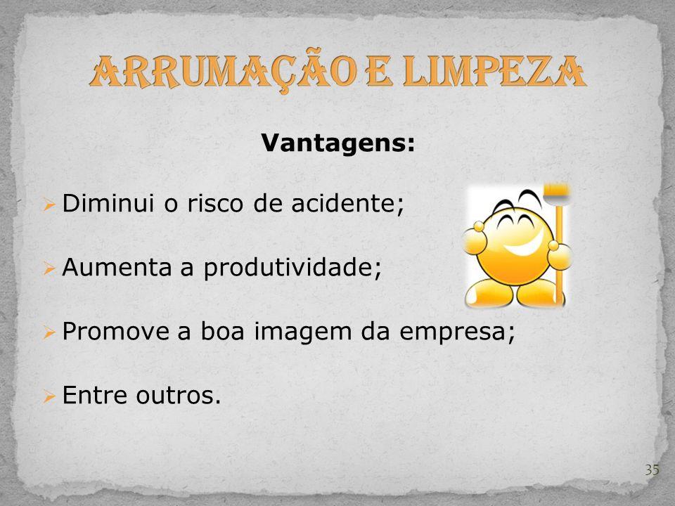 Vantagens:  Diminui o risco de acidente;  Aumenta a produtividade;  Promove a boa imagem da empresa;  Entre outros. 35