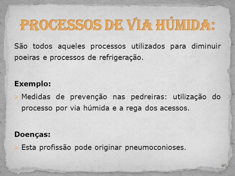 São todos aqueles processos utilizados para diminuir poeiras e processos de refrigeração. Exemplo:  Medidas de prevenção nas pedreiras: utilização do