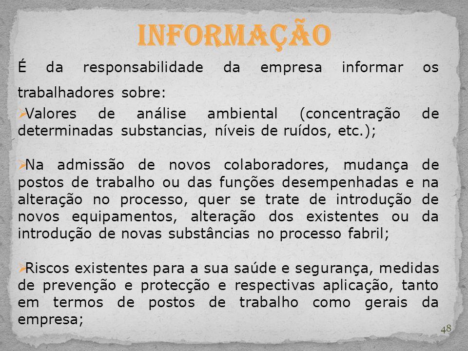 48 Informação É da responsabilidade da empresa informar os trabalhadores sobre:  Valores de análise ambiental (concentração de determinadas substanci