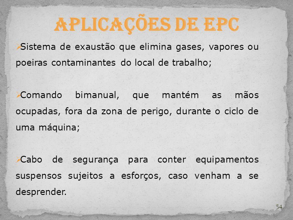54 Aplicações de EPC  Sistema de exaustão que elimina gases, vapores ou poeiras contaminantes do local de trabalho;  Comando bimanual, que mantém as