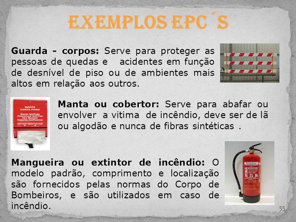 55 Exemplos EPC´s Guarda - corpos: Serve para proteger as pessoas de quedas e acidentes em função de desnível de piso ou de ambientes mais altos em re