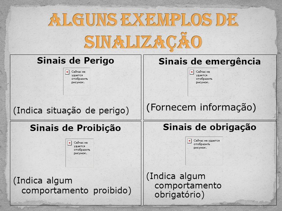 Sinais de obrigação (Indica algum comportamento obrigatório) Sinais de Perigo (Indica situação de perigo) Sinais de Proibição (Indica algum comportame