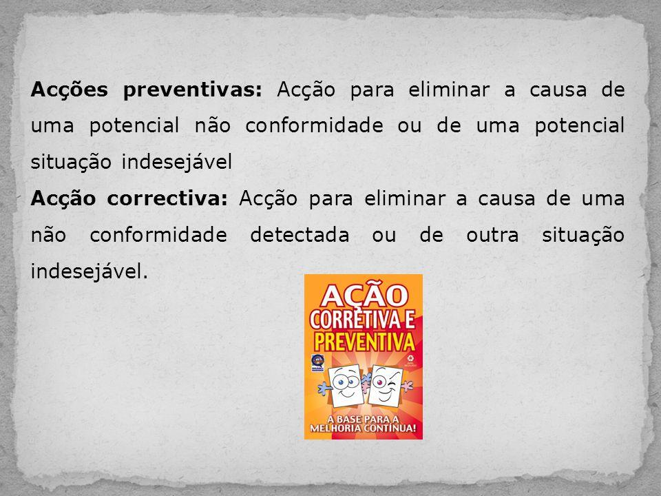 Acções preventivas: Acção para eliminar a causa de uma potencial não conformidade ou de uma potencial situação indesejável Acção correctiva: Acção par