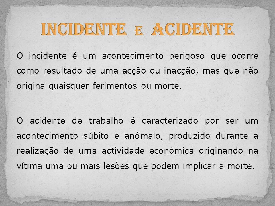 O incidente é um acontecimento perigoso que ocorre como resultado de uma acção ou inacção, mas que não origina quaisquer ferimentos ou morte. O aciden