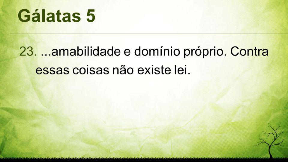 Gálatas 5 23....amabilidade e domínio próprio. Contra essas coisas não existe lei.