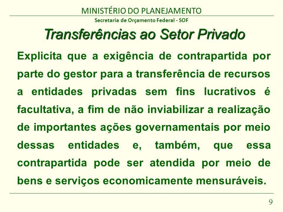 MINISTÉRIO DO PLANEJAMENTO 9 Secretaria de Orçamento Federal - SOF Transferências ao Setor Privado Explicita que a exigência de contrapartida por part