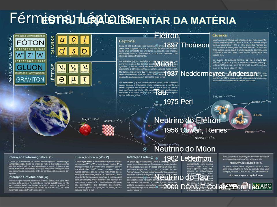  Elétron: 1897 Thomson  Múon: 1937 Neddermeyrer, Anderson  Tau: 1975 Perl  Neutrino do Elétron 1956 Cowan, Reines  Neutrino do Múon 1962 Lederman  Neutrino do Tau 2000 DONUT Collab., Fermilab Férmions: Léptons