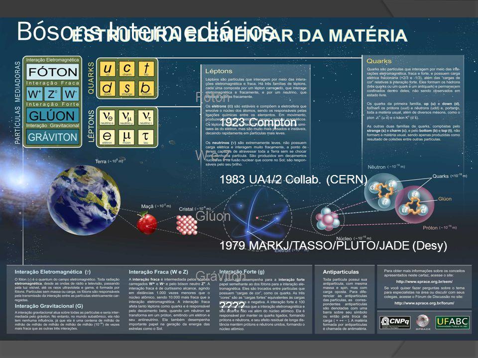 Fóton 1923 Compton W e Z 1983 UA1/2 Collab. (CERN) Glúon 1979 MARKJ/TASSO/PLUTO/JADE (Desy) Gráviton ???? Bósons Intermediários