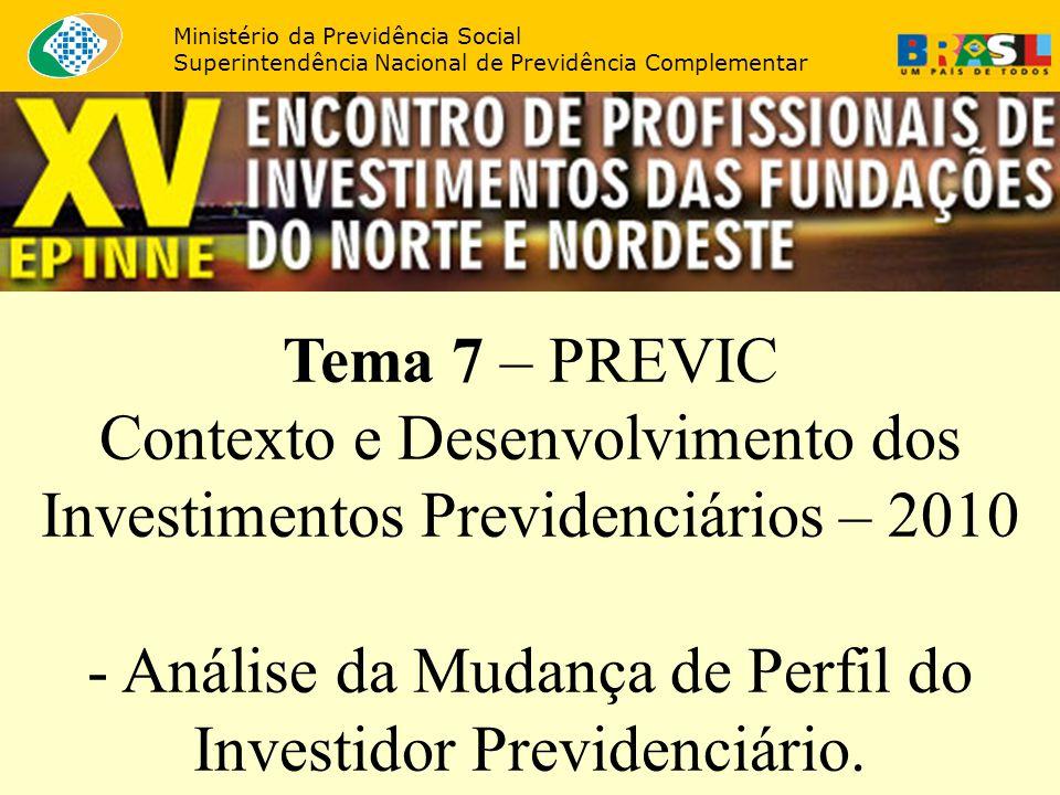 Tema 7 – PREVIC Contexto e Desenvolvimento dos Investimentos Previdenciários – 2010 - Análise da Mudança de Perfil do Investidor Previdenciário. Minis