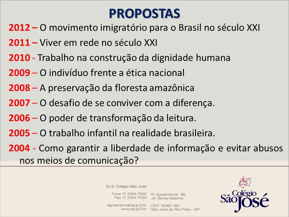 PROPOSTAS 2012 – O movimento imigratório para o Brasil no século XXI 2011 – Viver em rede no século XXI 2010 - Trabalho na construção da dignidade hum