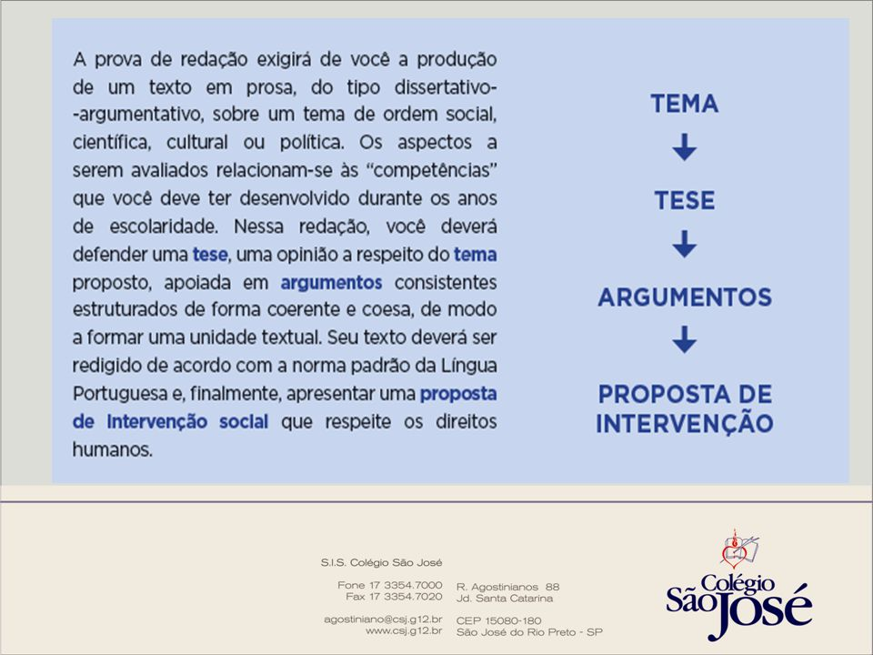 A proposta de redação é composta por: a) Instruções *; b) Tema; c) Textos de apoio * [...] redija um texto dissertativo-argumentativo [...] Argumentativo: defende uma tese; Dissertativo: utiliza de explicações para justificar a tese.