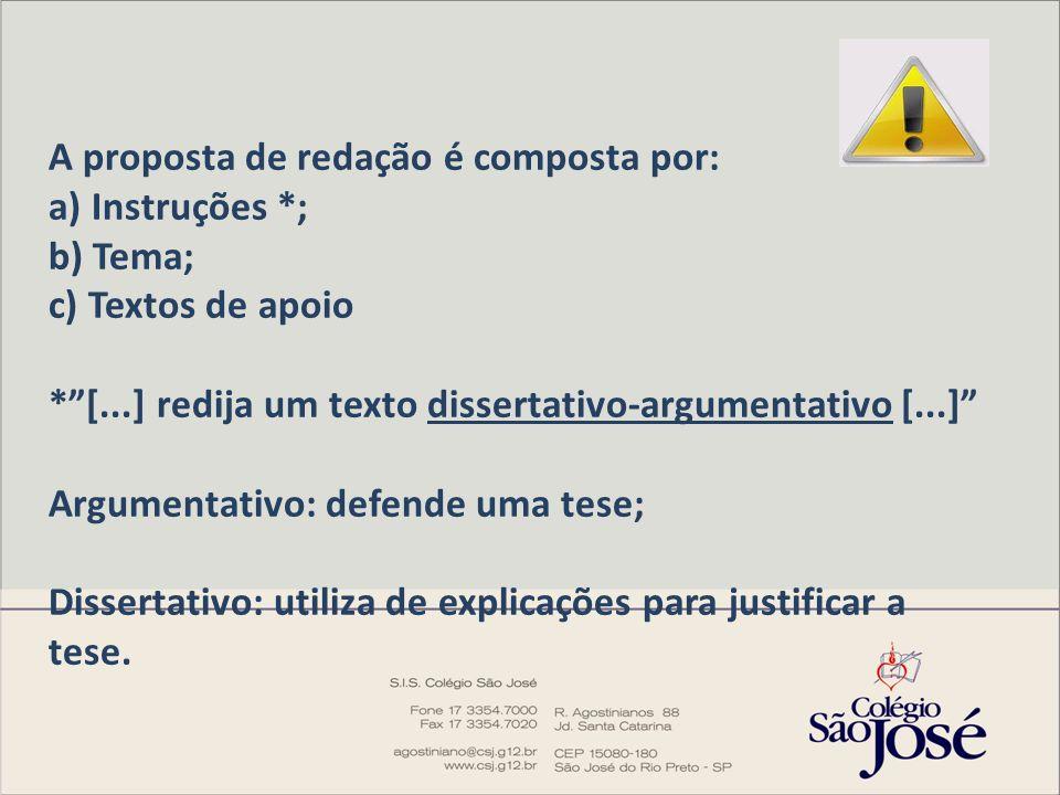 """A proposta de redação é composta por: a) Instruções *; b) Tema; c) Textos de apoio *""""[...] redija um texto dissertativo-argumentativo [...]"""" Argumenta"""