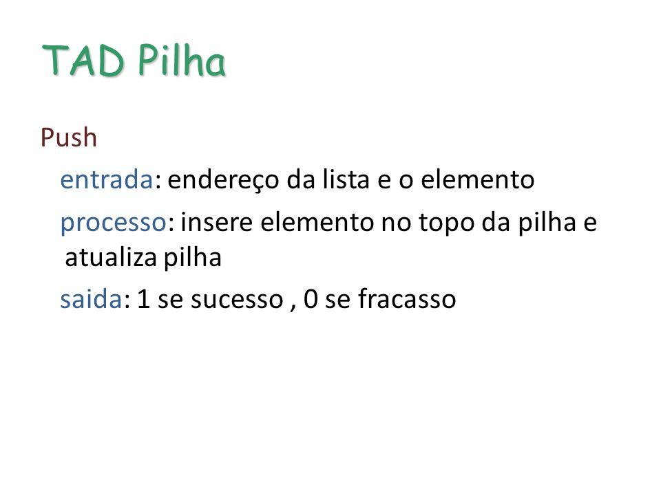 TAD Pilha Push entrada: endereço da lista e o elemento processo: insere elemento no topo da pilha e atualiza pilha saida: 1 se sucesso, 0 se fracasso