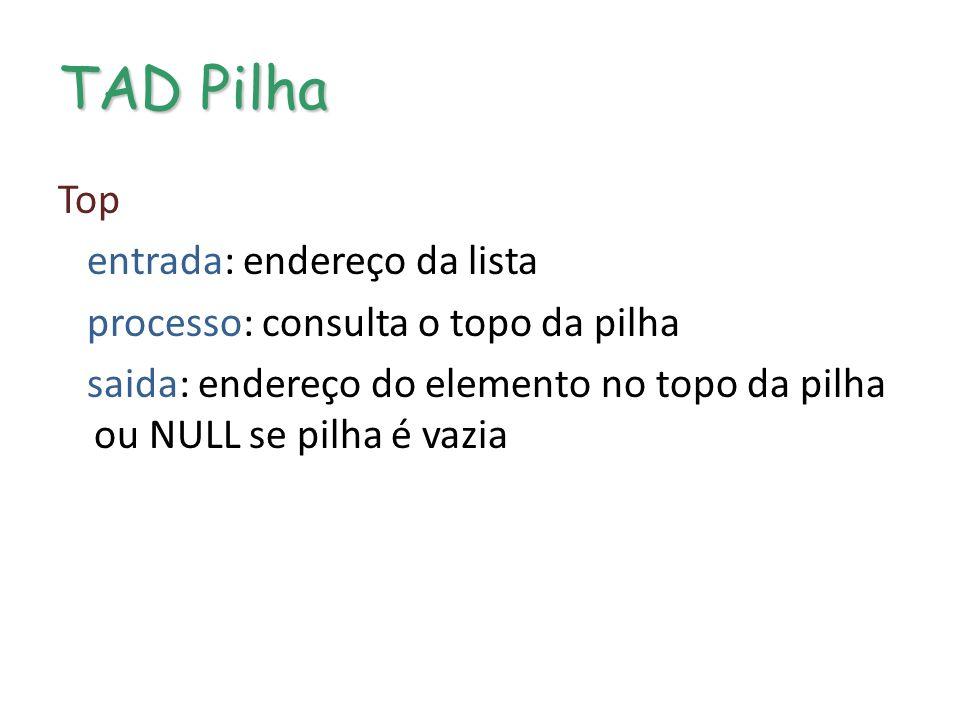 TAD Pilha Top entrada: endereço da lista processo: consulta o topo da pilha saida: endereço do elemento no topo da pilha ou NULL se pilha é vazia