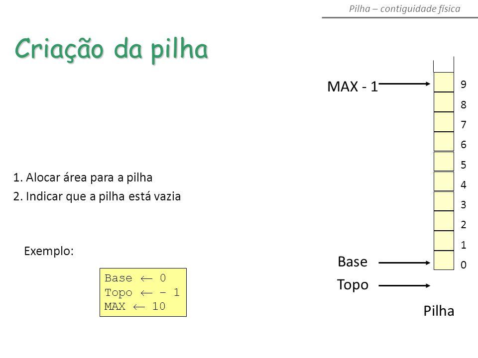 MAX - 1 Topo Base Pilha 1.Alocar área para a pilha 2.
