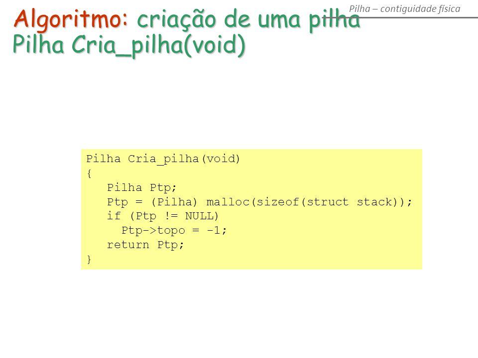 Pilha Cria_pilha(void) { Pilha Ptp; Ptp = (Pilha) malloc(sizeof(struct stack)); if (Ptp != NULL) Ptp->topo = -1; return Ptp; } Algoritmo: criação de uma pilha Pilha Cria_pilha(void) Pilha – contiguidade física