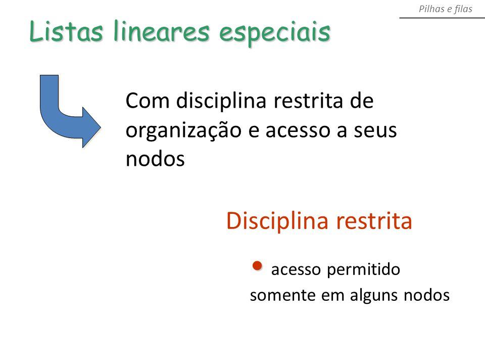 Pilhas e filas Disciplina restrita acesso permitido somente em alguns nodos Com disciplina restrita de organização e acesso a seus nodos Listas lineares especiais