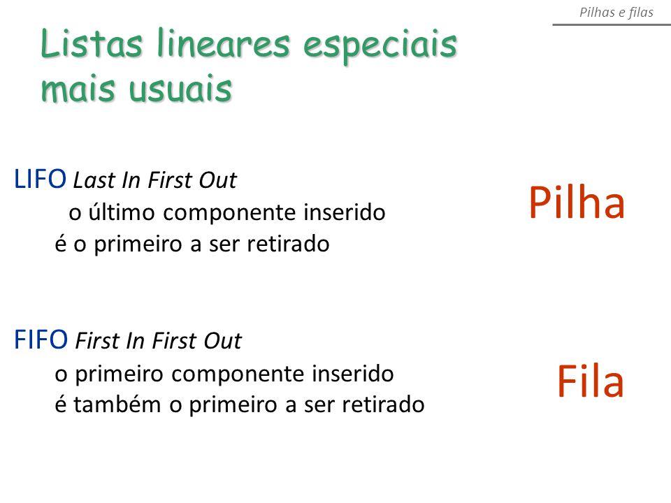 Pilha Listas lineares especiais mais usuais Pilhas e filas Fila LIFO Last In First Out o último componente inserido é o primeiro a ser retirado FIFO First In First Out o primeiro componente inserido é também o primeiro a ser retirado