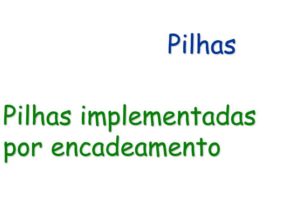 Pilhas Pilhas Pilhas implementadas por encadeamento
