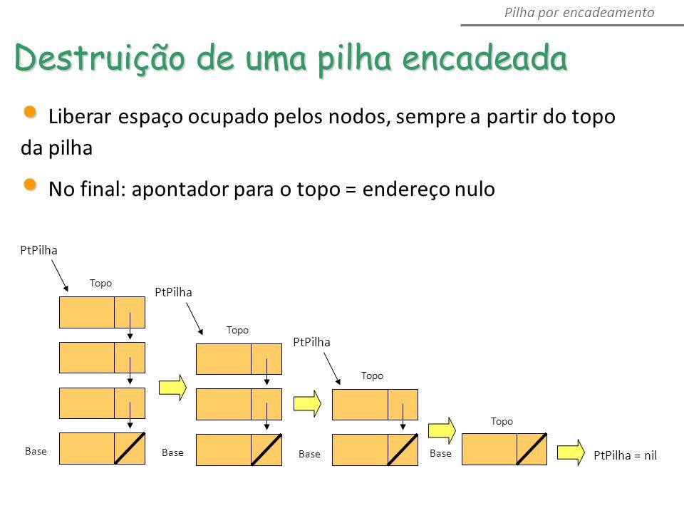 PtPilha = nil Base Topo Base Topo Base Topo Base Topo PtPilha Destruição de uma pilha encadeada Pilha por encadeamento Liberar espaço ocupado pelos nodos, sempre a partir do topo da pilha No final: apontador para o topo = endereço nulo